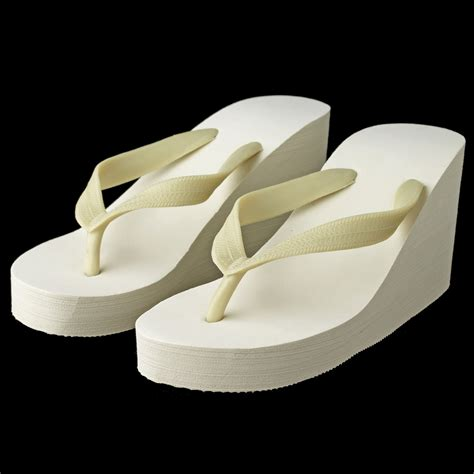 Wedge Flip Flops plain high wedge bridal flip flops ivory or white