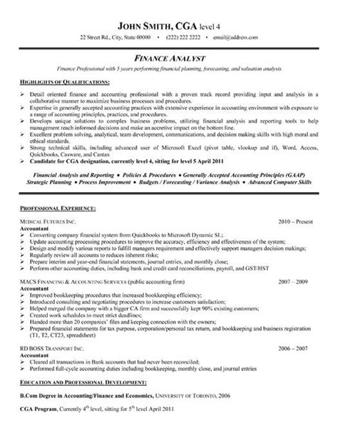 financial analyst resume format best finance resume templates sles on