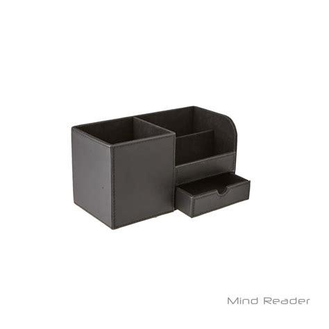 Black Leather Desk Organizer Mind Reader Faux Leather 3 Compartment Desk Supplies Organizer Black 2sqorg Blk The Home Depot