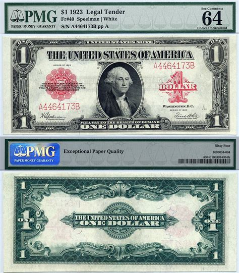 united states note fr  pmg graded cu  red seal