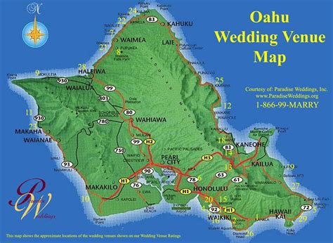 Wedding Venues Oahu by Oahu Hawaii Oahu Wedding Venue Map Oahu Hawaii