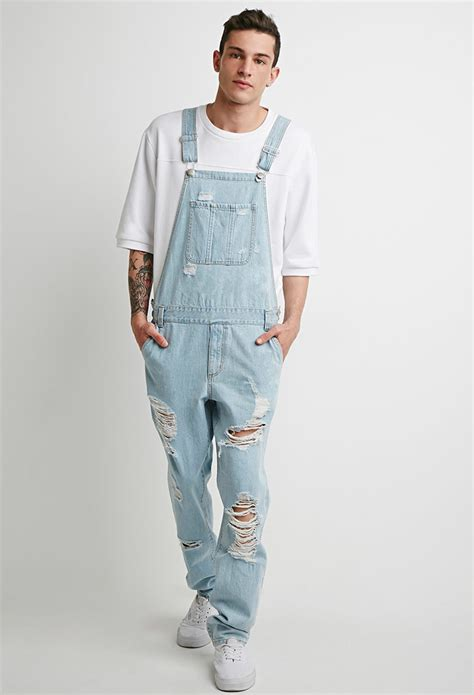 light blue overalls mens forever 21 light wash distressed overalls in blue for