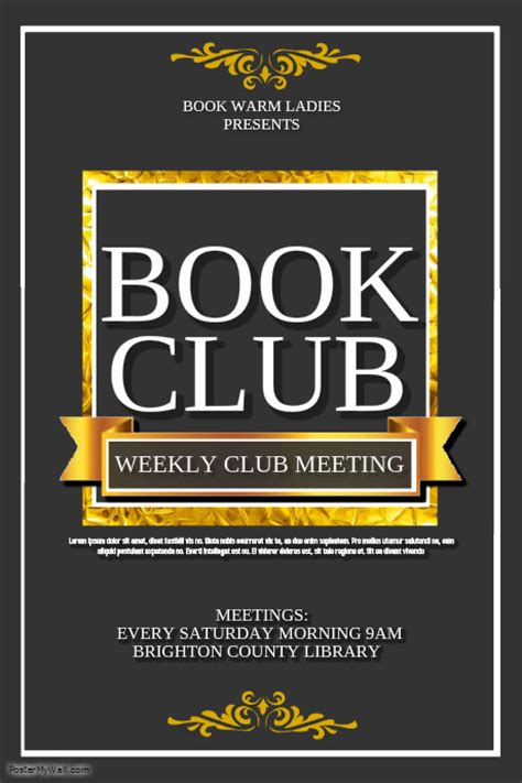 Book Club Template Postermywall Book Club Survey Template