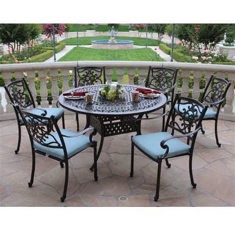patio dining set 7 hton bay belleville 7 patio dining set biscayne bronze 7piece patio dining set lowes