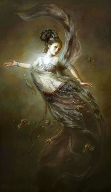 2018 dunhuang kwan yin goddess flying fairy with flowers