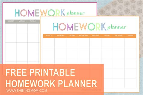 free printable planner for moms free printable homework planner