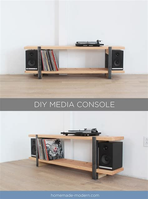 this diy media console is made out of a 2x12 and angle