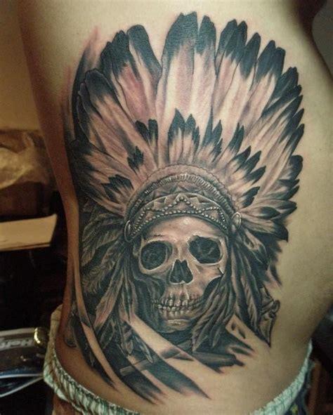 skull in headdress priest aztec on shoulder skull in an indian headdress on ribs tattooimages biz
