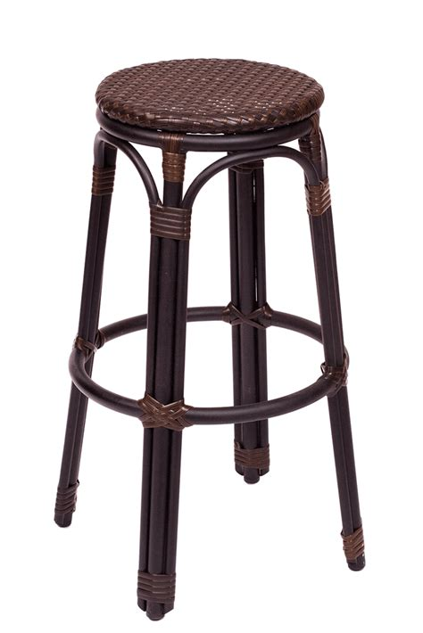 Outdoor Wicker Bar Stool Backless Black Brown Synthetic Wicker Outdoor Bar Stool With Black Powder Coated Aluminum