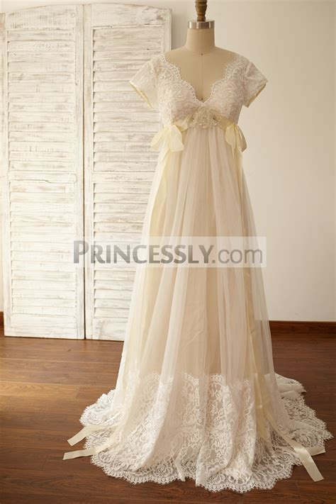 Empire Wedding Dress by Empire Waist Maternity Cap Sleeves Lace Tulle Wedding Dress