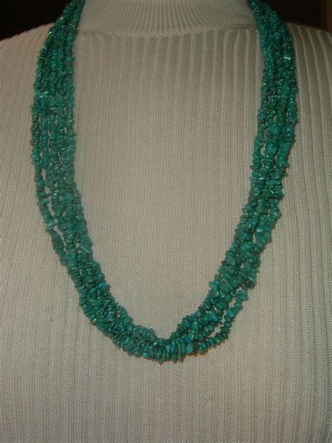 multi strand beaded necklace vintage turquoise bead multi strand necklace from