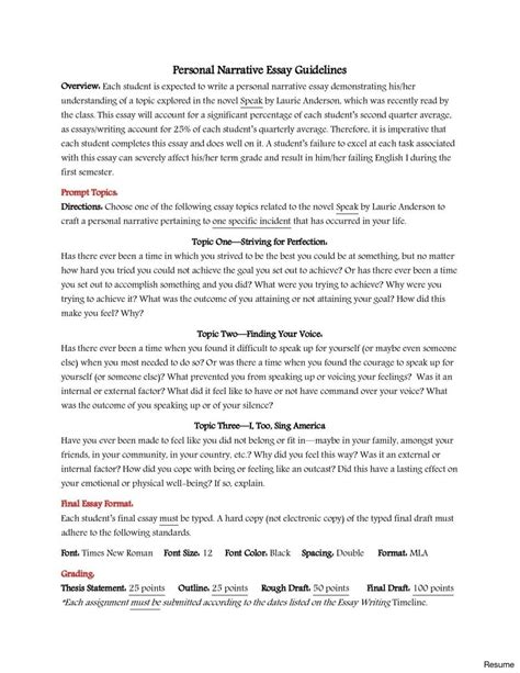 Narrative Resume by Narrative Essays Exles For High School Resume