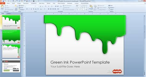 download powerpoint 2010 background themes free green ink powerpoint template free powerpoint