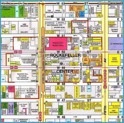 map of center new york map rockefeller center travelsfinders