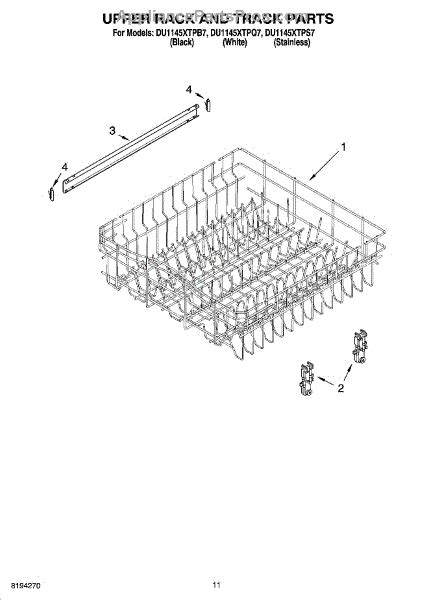 Track Rack Parts by Parts For Whirlpool Du1145xtpb7 Rack And Track