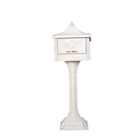 Pedestal Mailboxes gibraltar mailboxes pedestal post mount mailbox in white