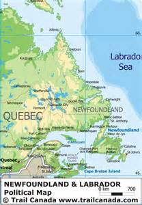 map of labrador canada physical map of newfoundland and labrador canada