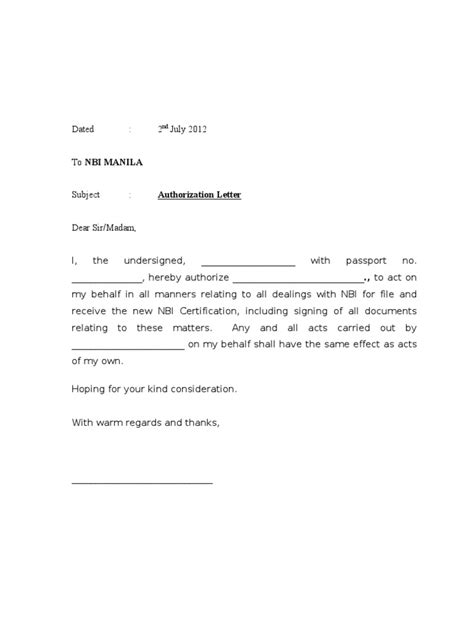 authorization letter sle to bank of collect document authorisation letter nbi