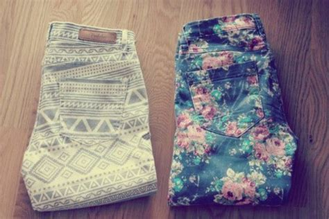 tribal pattern jeans jeans pants flowers green red pink pattern floral