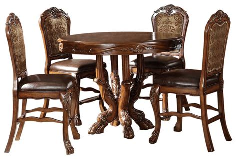 acme acme dresden 5 pc round counter height dining table set in dresden elegant formal round counter height 5 piece dining