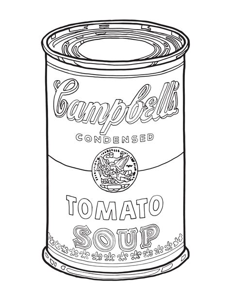 soup template cbells soup can coloring page sketch coloring page