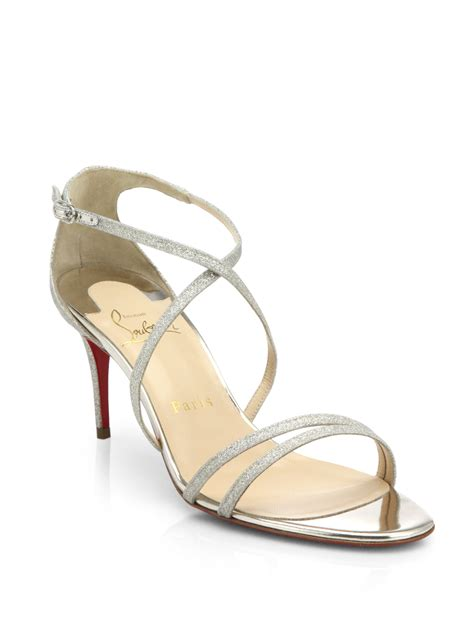 christian louboutin sandals christian louboutin gwinee glittered leather sandals in