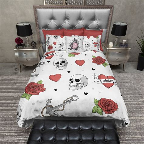 anchor bedding set rockabilly heart anchor rose skull duvet bedding sets in