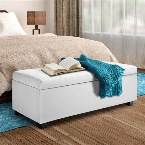 white storage ottoman bench large storage ottoman bench white pu leather 102cm buy