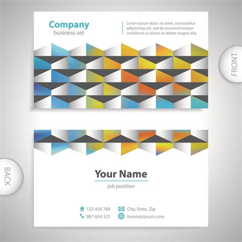 excellent business card templates excellent business cards front back template vector free