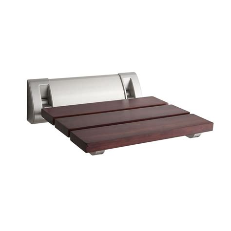 sapele folding shower seat wall mounted bath wooden spa