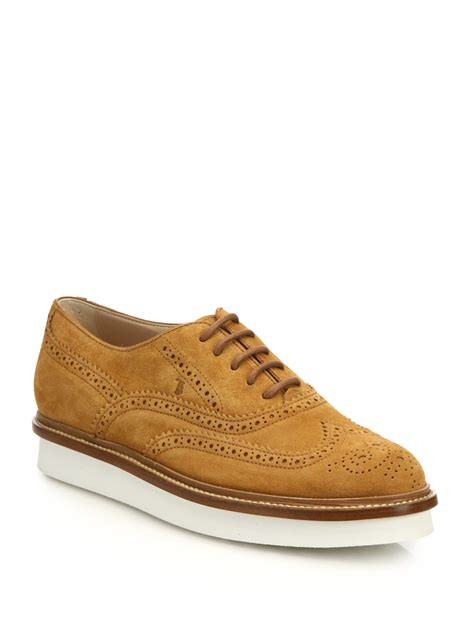 tods oxford shoes tod s suede wingtip platform oxfords in brown lyst