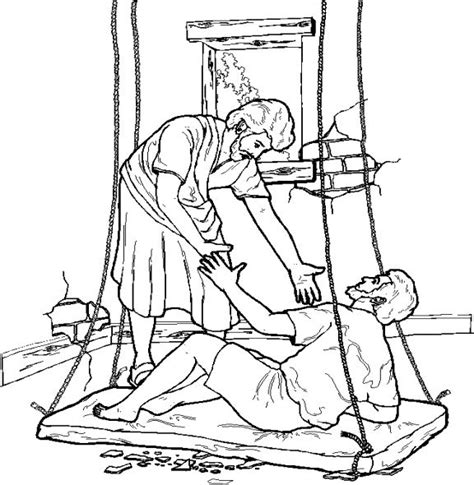 coloring pages jesus heals the paralyzed the paralytic drops from the roof to be healed