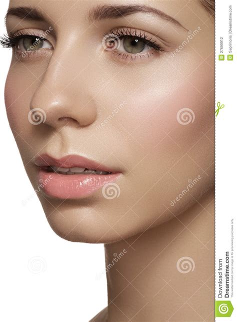 make clean skincare make up woman face with clean shiny skin