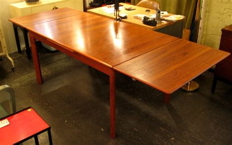 teak draw leaf dining table sold white trash nyc
