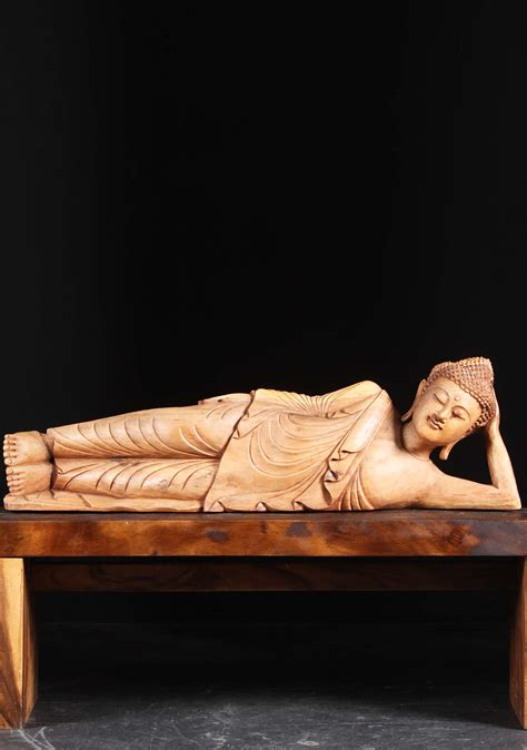 the reclining lotus wooden reclining buddha carving 44 quot 102bw3a hindu gods
