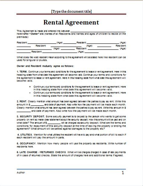 template lease agreement 20 rental agreement templates word excel pdf formats