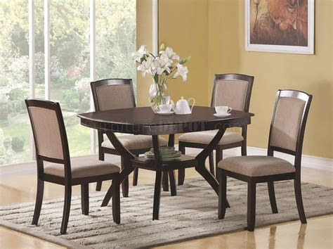 best finish for dining rich cappuccino finish modern rounded square top 5 pc