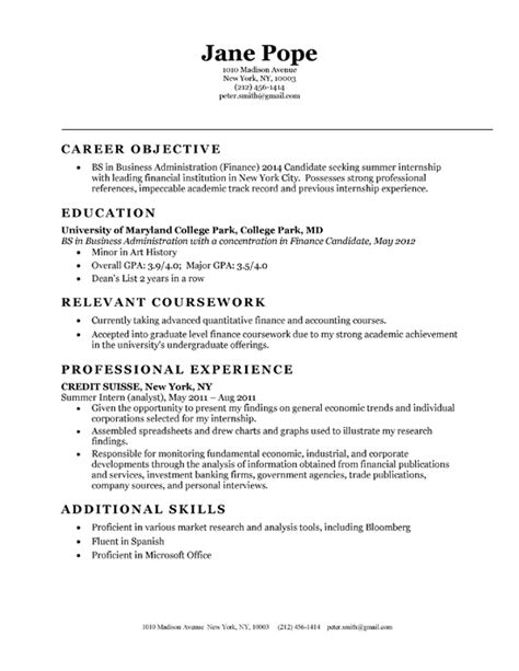 Free Resume Sles For Business Administration Bachelor Of Science In Business Administration Finance