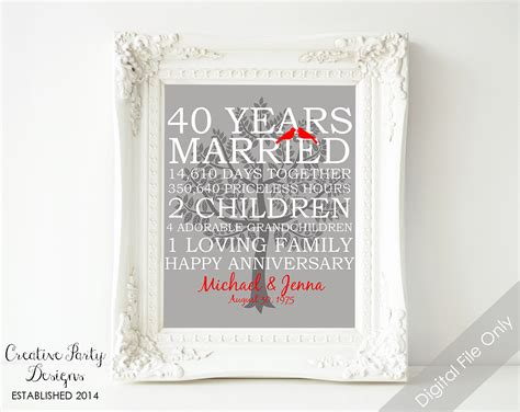 Wedding Anniversary Gift Names by 40th Wedding Anniversary Gift 40th Anniversary Print