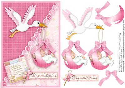 Baby Decoupage - new baby stork topper and decoupage on craftsuprint