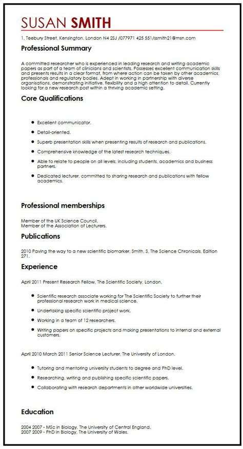Resume Exle With Publications Cv Sle With Publications Myperfectcv
