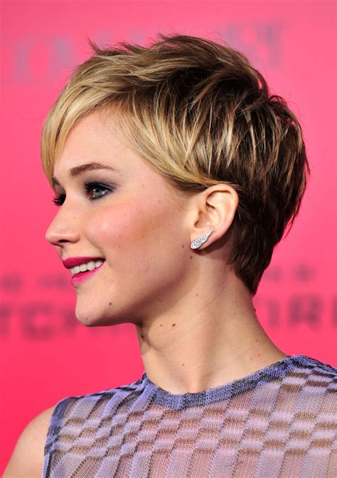 is jennifer lawrence hair cut above ears or just tucked behind more pics of jennifer lawrence pixie 37 of 134 pixie