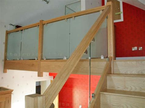 Glass Landing Banister by Glass Balustrading Oak Handrail With Glass Toughened Glass