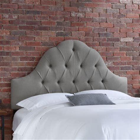 buy tufted upholstered headboard color linen grey size