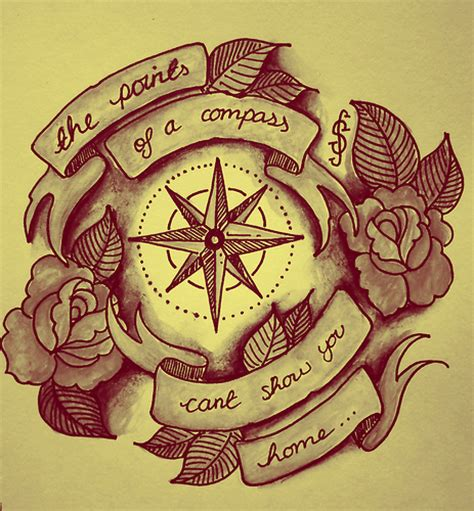 compass tattoo phrase tattoo style illustration compass quote roses banner