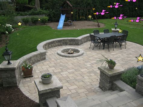 Paver Patio Designs With Fire Pit Lighting Furniture Design Backyard Pits Designs