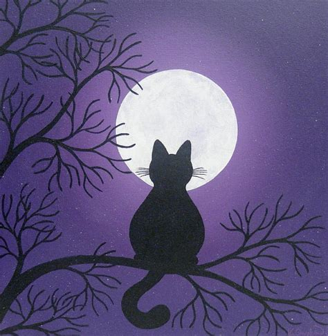 cat painting designs easy black cat in the moonlight painting