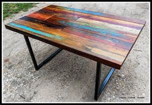custom reclaimed salvaged wood dining table or desk with paint