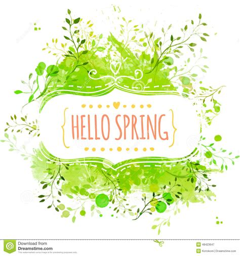 green paint sles white decorative frame with text hello spring green paint