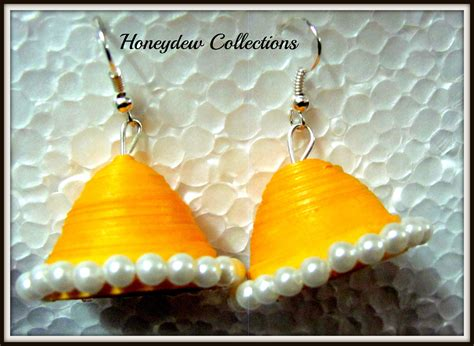 Jhumkas With Paper - bright hansa yellow paper jhumka shopping